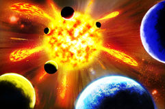 Supernova. The supernova explosion in space - abstract backgrounds Stock Image