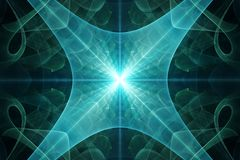 The supernova. Of the supernova. The bright light from the depths of space. Stylized geometric image. The rays diverge to the sides. Colored swirls and flares Stock Photography
