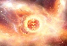 Supernova de explosion abstraite dans une illustration énergique multicolore de galaxie de nébuleuse photographie stock