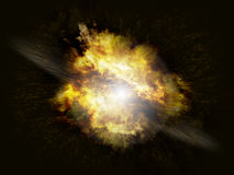 Supernova explosion. A star burst in space, on black background with debris and flames Royalty Free Stock Photography