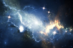 Supernova explosion with glowing nebula in the background Royalty Free Stock Images