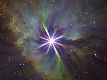 Supernova. Fractal explosion set on cosmic background Royalty Free Stock Image