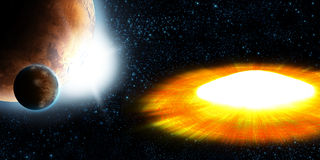 Supernova star, planet explosion Stock Images