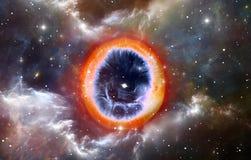 Supernovaexplosie met gloeiende nevel op de achtergrond Stock Foto