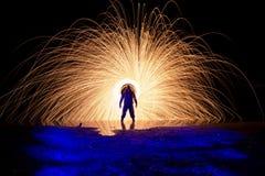 Superpoder del ardiendo de Chico Imagen de archivo libre de regalías