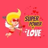 Superpotenza di amore Carta di San Valentino con il cupido come eroe eccellente Fotografia Stock Libera da Diritti