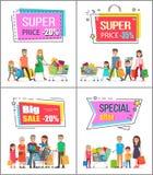 Superpreis weg von bis 30 Handelsposter eingestellt Stockbilder
