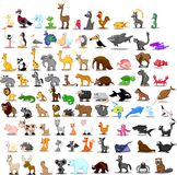 Supersatz von 91 netten Karikaturtieren Stockfotografie