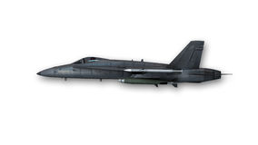 Superschalljet, Militärflugzeug auf weißem Hintergrund, Seitenansicht Stockbild