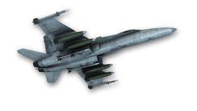 Superschallkampfflugzeug lokalisiert auf weißer, Ansicht von unten Stockbild