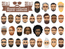 Superset of 30 hipsters bearded men with different hairstyles stock illustration
