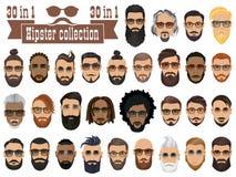 Superset von 30 bärtigen Männern der Hippies mit verschiedenen Frisuren Lizenzfreies Stockbild