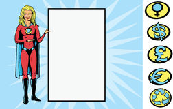 Supersign girl. Superheroine holding a sign.  With vector,  sign can be removed, for back of hand is fully drawn, so, she can be holding anything. Crest can be Stock Photos