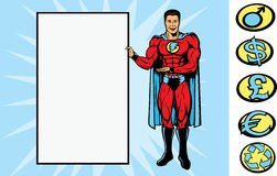 Supersign guy. Superhero holding a sign.  With vector,  sign can be removed, for back of hand is fully drawn, so, se can be holding anything. Crest can be Stock Photography