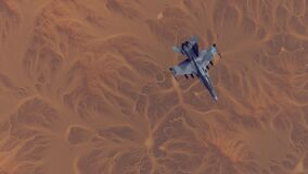 Free Supersonic Jet Aircraft High Altitude Above Arid Mountain Desert With Sediment Mudflat Royalty Free Stock Photos - 191180308