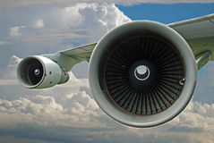 Supersonic Jet Engines. Isolated image of supersonic jet engine turbines in the clouds Stock Photography