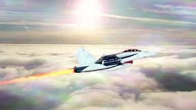 A supersonic plane flying over the clouds vector illustration