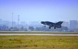 Supersonic turbojet landing Stock Image