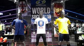 Life-size mannequins featuring world cup football players Stock Photo