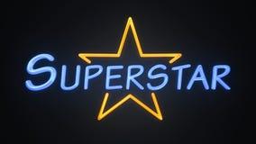 Superstar. Background of a pop star superstar neon sign Stock Images