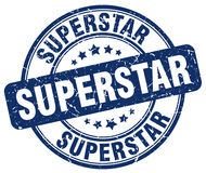 Superstar blue grunge round stamp Stock Images