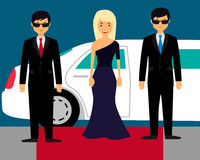 Superstar with bodyguards Royalty Free Stock Photography