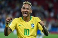 Superstar brésilien Neymar après match Serbi de la coupe du monde de la FIFA 2018 photo stock