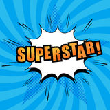 Superstar comic text. With white cloud, sound effects, radial blue background with halftone star in pop-art style. Vector illustration Royalty Free Stock Images