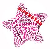 Superstar info-text graphics. And arrangement concept on white background (word cloud Royalty Free Stock Images