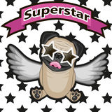 Superstar. Pug Dog with star glasses on the background of stars Stock Photos