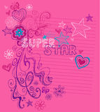 Superstar Sketchy Notebook Doodles. Vector Illustration of Hand-Drawn Abstract Sketchy Notebook Doodles with Stars, Hearts, Flowers, Superstar lettering, and Royalty Free Stock Photography