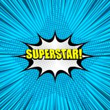Superstar yellow comic wording background. With white speech bubble halftone effects in star shape radial and rays effects in pop-art style. Vector illustration Royalty Free Stock Photo