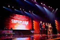 SUPERstern Fernseherscheinen Stockfoto