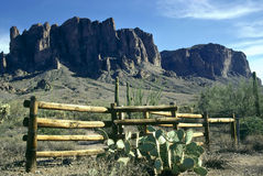 Superstition Fence. A wooden fence with the Superstition Mountains in the background stock photo