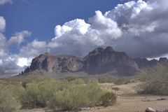 Superstition Mountain. A beautiful view of the Superstition Mountain Stock Image