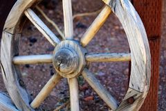 Superstition Mountain Museum. Wagon wheel at the Superstition Mountain Lost Dutchman Museum in Apache Junction, Arizona Royalty Free Stock Photos