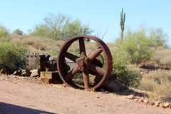 Superstition Mountain Museum. Wheel at the Superstition Mountain Lost Dutchman Museum in Apache Junction, Arizona Stock Image