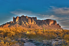 Superstition mountain at sunset. In apache tail, Arizona USA Royalty Free Stock Photo