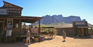 A Superstition Mountain View from Goldfield Ghost Town Royalty Free Stock Photography