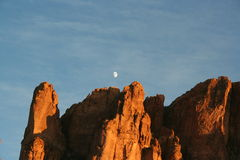 Superstition Mountains. Moon on the top Royalty Free Stock Image