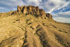 Superstition Mountains, Arizona. Overlooking view of Superstition Mountains near Phoenix, Arizona. Sun is going down, just couple of hours before sunset. Colors stock photography