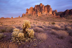 Superstition mountains in arizona after sunset Stock Image