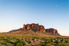 Superstition Mountains & Moon stock photo