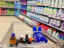 Superstore cart or supermarket trolley. Stock Photo