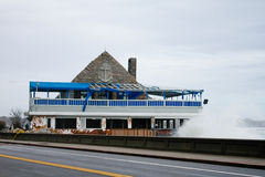 Superstorm Sandy destroys famous Coast Guard House Royalty Free Stock Images