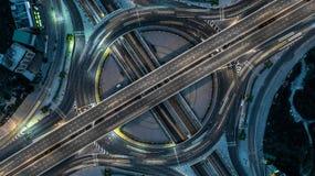 Superstrada di Bangkok di vista aerea, strada principale, autostrada, Tollway, fotografia stock libera da diritti
