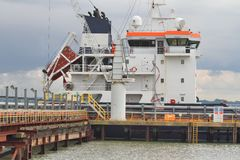 Superstructure of Chemical/Oil Tanker moored at Jetty. Chemical/Oil Tanker moored to discharge cargo Royalty Free Stock Photography