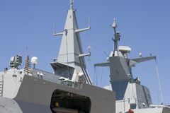 Superstructure of frigate. Superstructure and bridge of a navy warship, a frigate Royalty Free Stock Photo