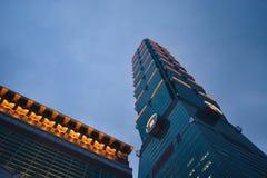 Supertall Wolkenkratzer des Marksteins in Taipeh, Taiwan Stockbild
