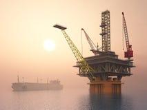 Supertanker en Olieplatform Stock Fotografie